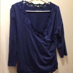 Coldwater Creek women's med blue rutched blouse